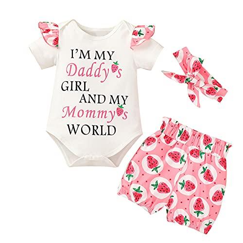 Meilily Baby Mädchen Kleidung Baumwolle Buchstabe Langarm Strampler Body Blumen Erdbeere Gedruckt kurze Hose Bowknot Stirnband 3tlg Set Outfit für 0-18 Monate