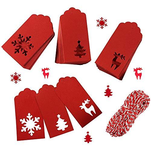Weihnachten Etiketten Tags,150 Stück Weihnachten Kraftpapier Etiketten mit 20 Meter Schnur Geschenk Anhänger zum Geburtstag Hochzeit Weihnachtsgeschenk DIY Kunsthandwerk