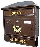 Pachurka & Dąże Großer Briefkasten/Postkasten XXL Kupfer/Bronce mit Zeitungsrolle Zeitungsfach Schrägdach Trapezdach