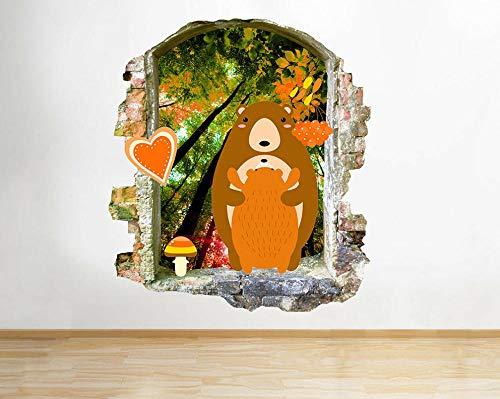 HQSM Wandtattoo Bears Cub Herbstbäume Kids Smashed Wall Decal 3D Kunst Aufkleber Vinyl Zimmer