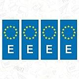 CUAC REVOLUTION 4X Vinilo Adhesivo Pegatina MATRICULA ESPAÑA UE E Union Europe Placa Sticker