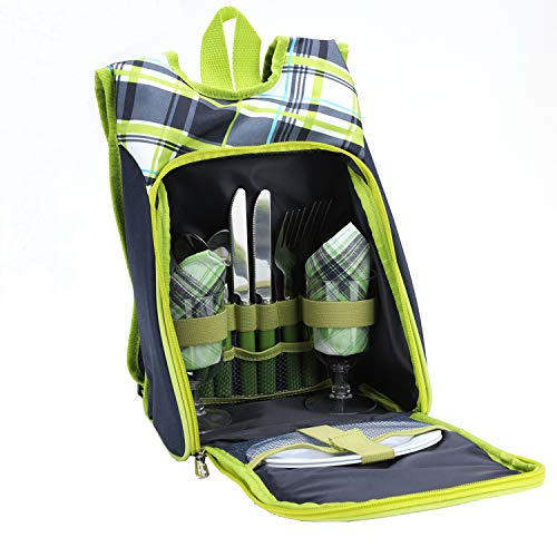 ONEGenug Picnic Bag Kit- Camping Shoulder Bag Set for 2 People with Cooler Compartment,Detachable Bottle Holder Plates and Flatware Cutlery for Family (Green)