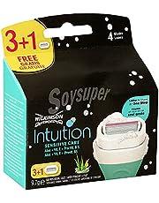 Wilkinson Sword Intuition Sensitive - Pack de 3 + 1 Recambios de Cuchillas Autoadaptables de 4 Hojas para Mujer , Kit de Depilación Femenina