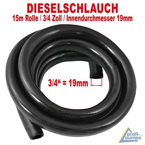 AMUR Dieselschlauch, Benzinschlauch für Dieselpumpe Heizölpumpe Biodieselpumpe Ölpumpe, Wasserpumpe, Ölschlauch Gummi- Spiralschlauch Saug-/Druckschlauch (15m Gummi Schlauch 3/4 Zoll - 19mm)