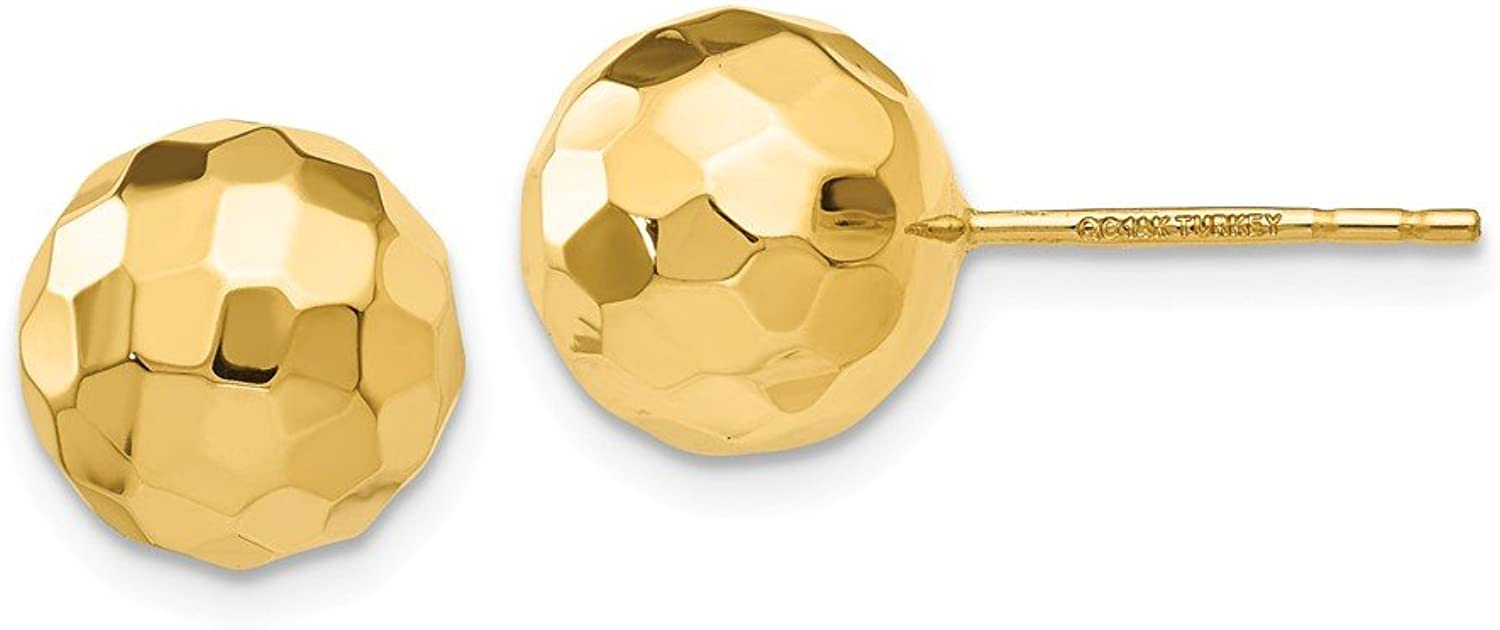 Beautiful Yellow gold 14K Yellowgold 14K gold Polished and Diamond Cut 9.5MM Ball Post Earrings