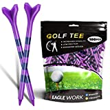 EAGLE WORK Plastic Golf Tees, Pack of 100(3-1/4'') 4 Prongs Golf Tees, More Durable and Stable, Reduces Friction & Side Spin Plastic Tees