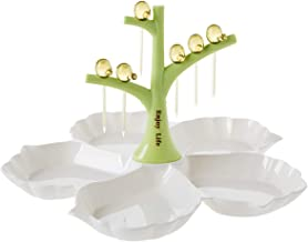Chip & Dip Serving Tray, 11 inch Cuckoo Dessert Fork Divided Serving Platter Set Perfect for Snack (Green)
