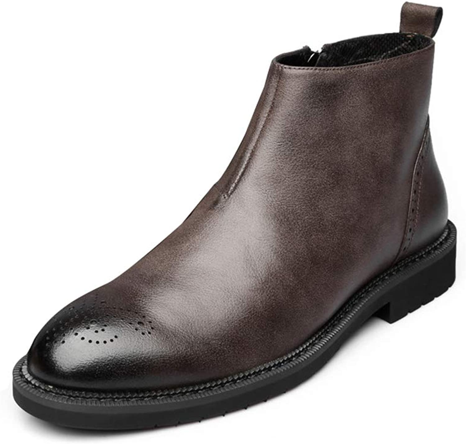 Men Leather Chelsea Boots Soft Ankle Boots Male Formal Dress Boots Anti-Slip Winter Boots in Black Brown