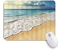 マウスパッド カラフルな切り株とターコイズブルーの海とビーチ ゲーミング オフィス最適 高級感 おしゃれ 防水 耐久性が良い 滑り止めゴム底 ゲーミングなど適用 用ノートブックコンピュータマウスマット