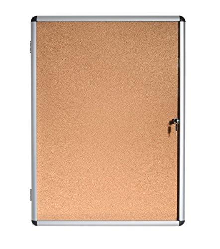 Bi-Office Enclore - Vitrina de interior de Corcho para 4 Hojas A4, con Puerta de Aluminio y Cerradura, 500 x 674 mm