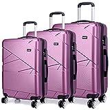 Kono Reisekoffer 3-tlg. Hartschale Trolley Kofferset Spitzenverarbeitung ABS+PC, 4 Doppelräder, TSA Schloss (Set(20'+24'+28')) Violett