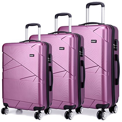 Kono Hardshell Suitcase 4 Wheeled Spinner Luggage Sets of 3 pcs (Set,Purple)