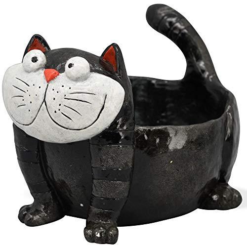 matches21 Katze als Pflanztopf Skulptur bemalt Blumentopf Pflanzgefäß Katzenfigur schwarz Polyresin 1 STK 26,8x17,5 cm