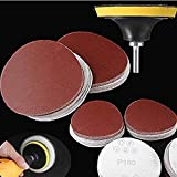 """DIY Crafts 3 inch Sanding Sander Sandpaper # Grit Round Self Adhesive + Backer Pad + M 10 Drill Adopter Multi Colour 3""""inch Combo Set (Pack of 20 Pcs, 60/120/240/800/1000 Mix)"""