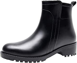 Women's Elastic Ankle Rubber Rain Boots Non Slip Waterproof Chelsea Rain Shoes Wellington Boot with Pull-Up Tabs