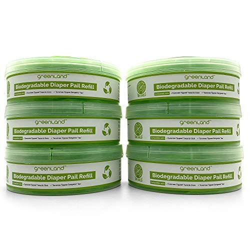 Greenland Biologisch abbaubare Nachfüllkassetten, für Tommee Tippee Twist & Click und Sangenic Tec (6er Pack)