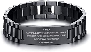 Stainless Steel to My Son Love Mom Courage Inpsirational Wristband Bracelets, Birthday Gifts to Son