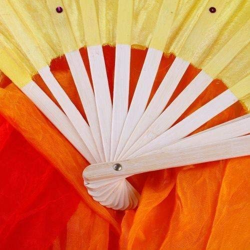 MEETOZ 1.8M Hand Made Belly Dance Dancing Silk Bamboo Long Fans for Party Stage Performance Silk Bamboo Long Fans for Party Stage Performance (3 Colors)