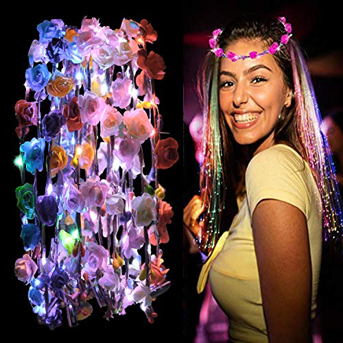 JUSTDOLIFE Corona Flores Led, Justdolift 10 pcs LED Diadema Guirnalda Diademas Luminosas Bohemia Diadema Flores LED Headwear Floral Corona Tiara Decoración de Pelo Boda Festival Fiesta