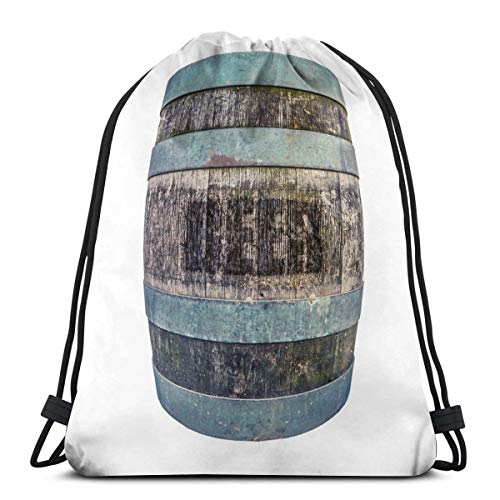 NA Kordelzug-Rucksack, Bierfass Turnbeutel, tragbarer Sack, Aufbewahrungstasche für Camping, Wandern, Schwimmen, Einkaufen, Wandern, Reisen, Strand