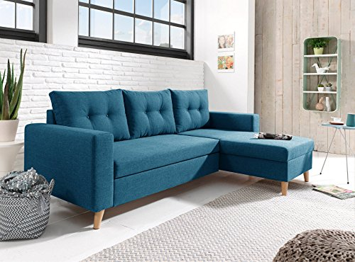 Bestmobilier - Nordic - Canapé scandinave d'angle réversible Convertible - Bleu Canard
