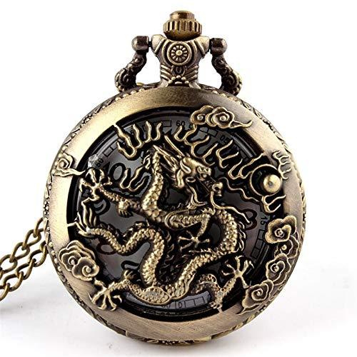 LiQinKeJi8 Pocket Watch Antique Zodiac Openwork Pendant Necklace Mens Round Bronze Pocket Fob Watch Boy Gifts for Men Women (Color : Dragon)