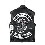 Sons of Anarchy Jacket - Ärmellos 100% Büffelleder + 2 Zusätzliche Patches Expresslieferung (L)