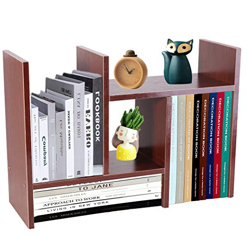 PENGKE Office Storage Rack,Desktop Organizer,Home Decor Adjustable Wood Display Shelf Rack,True Natural Stand Shelf,Office Supplies Desk Organizer,Brown