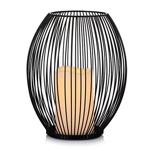 Sziqiqi Portacandele in Metallo Nero con Lanterne Decorative a LED a Candela, Portacandele a Colonna...