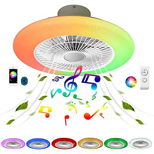 Ventilador de Techo con Luz LED y Mando a Distancia Silencioso Inspire Colores Plafon Ventilador Techo con Iluminación Lampara Música RGB Color Air Bluetooth Altavoz Regulable Cocina Comedor