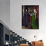 RuiChuangKeJi Cuadro de Pared 70x90cm sin Marco Jan Van Eyck Arnophanes Retrato Famoso Cartel impresión Retro Moderno Sala de Estar Imagen Arte de la Pared decoración