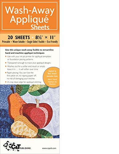 """Wash-Away Applique Sheets: 25 Sheets * 8 1/2\"""" x 11\"""" * Printable * Water Soluble * Single-Sided Fusible * ECO-Friendly"""