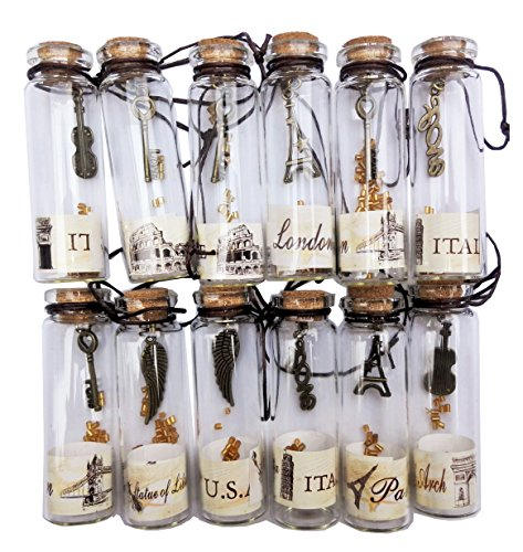 Nesting Nomad Small Transparent Mini Glass Jars with Cork Stopper and with Inside Steam Punk Pendants