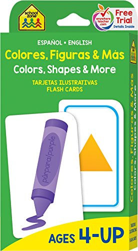 School Zone - Bilingual Colors, Shapes & More Flash Cards - Ages 4+, Preschool to Kindergarten, ESL, Language Immersion, Numbers, and More (Spanish and English Edition)