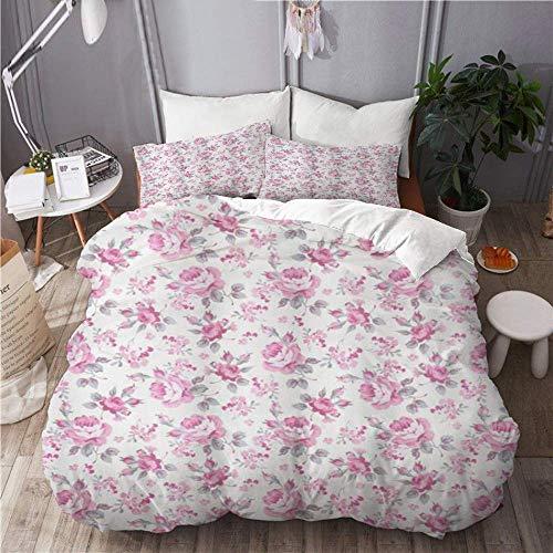 Juego de funda nórdica para ropa de cama, 3 piezas, funda de edredón con 2 fundas de almohada, rosas rosadas Shabby Flora con hojas grises, plantas de jardín, flores primaverales, colcha de microfibra
