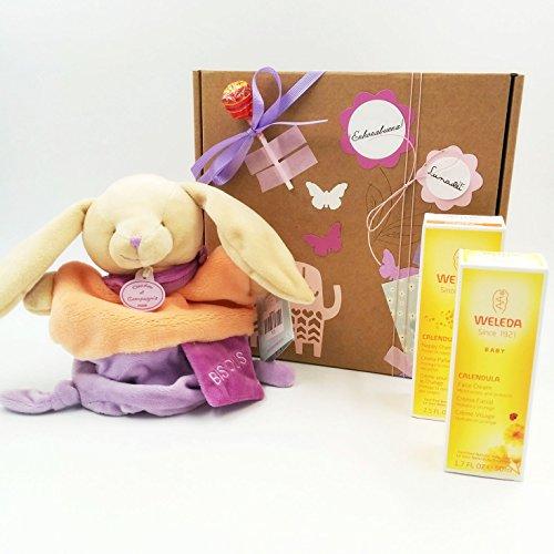 Cadeau pour Nonati avec 2 produits de la ligne BIO Calendula et avec une marionnette en peluche Doudou et Compagnie (30 cm)   Idée de cadeau de douche de bébé   Version pour filles