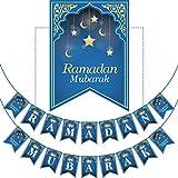 Ramadan Mubarak Banner - Keine DIY Erforderlich Muslim Ramadan Partei Vorräte Dekorationen, Blau Eid Feier Dekoration für Muslim (Ramadan Mubarak)