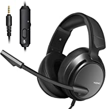 Micolindun Stereo Gaming Headset for PS4, Xbox One, PC with LED Bass Surround Soft Memory Earmuffs, Noise Cancelling Over Ear Headphones Mic, Volume Control for Laptop Table
