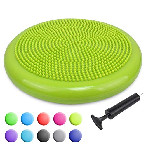 Trideer Inflated Stability Wobble Cushion with Pump, Extra Thick Core Balance Disc, Kids Wiggle Seat, Sensory Cushion for Elementary School Chair (Office & Home & Classroom) (34cm New Yellow Green)