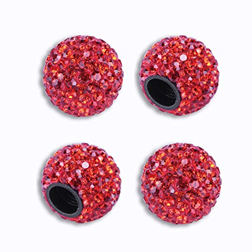 JUSTTOP Car Wheel Tire Valve, 4 Pack Handmade Crystal Rhinestone Car Stem Air Caps Cover, Attractive Dustproof Bling Car Accessories, Universal for Cars, SUVs, Bicycle, Trucks and Motorcycles-Red
