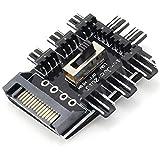 ZRM&E PC Fan Speed Controller 8 Way Cooling Fan Hub 3 Gear Speed SATA 1 to 8 Multi Way Splitter 3-Pin Power Socket PCB Adapter