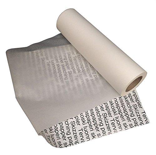 Tervakoski - Rollo de papel para bocetos - Ideal para trazar y dibujar - Traslúcido - 25 gsm - 100 m - 30 cm x 100 m