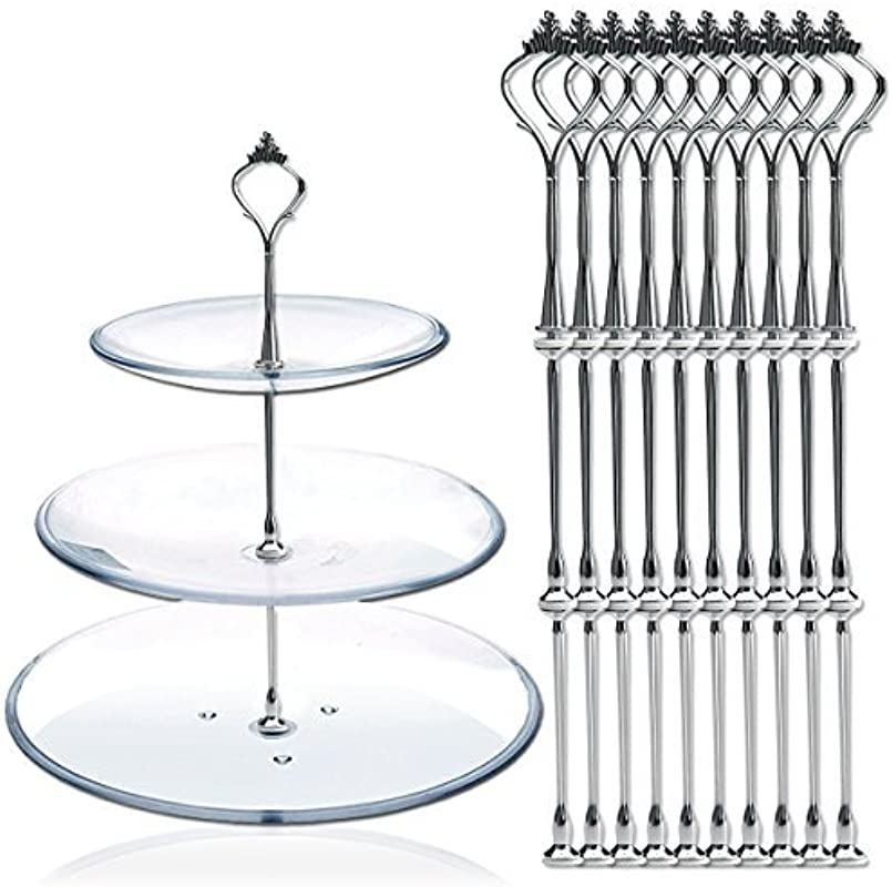 DGQ 10 X Sets 2 Or 3 Tier Cake Plate Stand Fittings Silver Plate Stands