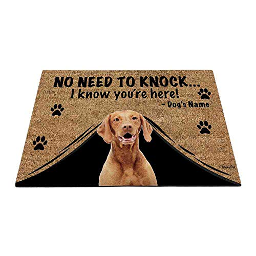 Bageyou - Felpudo personalizado con nombre de perro para exteriores, con My Love Dog Vizsla Welcome Floor Mat Not Need to Knock I Know You're Here 69,8 x 45 cm