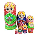 ULTNICE 7pcs russische Nesting Dolls Matryoshka Holz Stapeln Spielzeug Puppe -