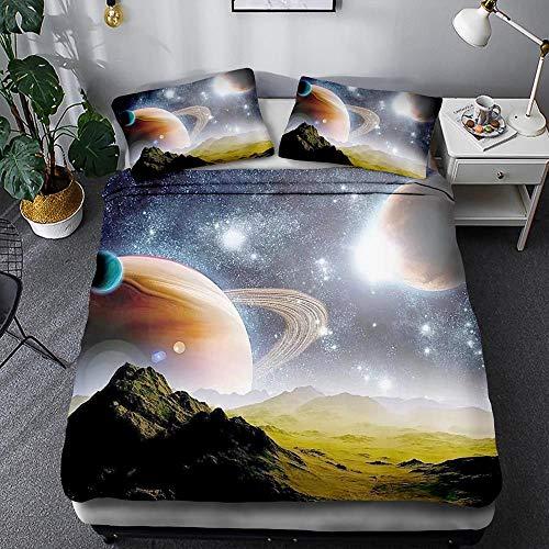 BIANXU Bettbezug Raum Sternenmuster Bettbezug Und Kissenbezug Für Kinderzimmer135*200Cm+1 Pillowcase(50 * 75Cm)