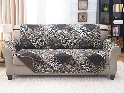 Couch Guard Sofa Cover, Slipcover, Furniture Protector. Shield & Protects from Dogs, Cats, Pets, Kids, Stains. Reversible, Quilted with Elastic Strap. Easy Wash & Dry. Safari & Brown