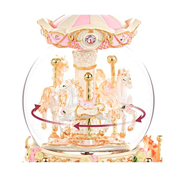Carousel Snow Globe Music Box - 8 Horse Blue Snowglobe Anniversary Christmas Birthday Gift for Wife Daughter Girlfriend… 9