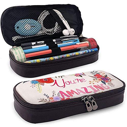 PU Leder Bleistift Tasche Reißverschluss Schreibwaren Tasche, iexcl; & deg; Sie sind erstaunliche Karte