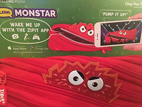 Zipit Talking Monstar Monster Pencil Pouch - Wake Up with The Downloadable ZIPIT App (Red)